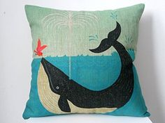 Hidoon® Cotton Linen Square Decorative Retro Throw Pillow Case Vintage Cushion Cover Whale and Bird Friend 18x18 ""