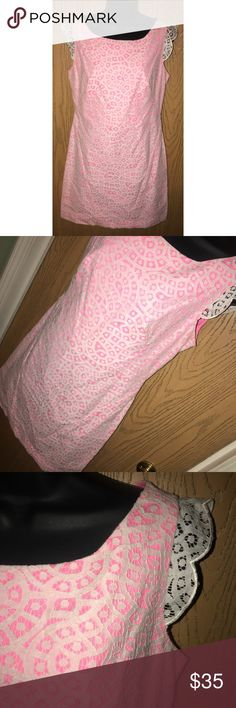"""Cream lace&pink eyelet Jessica Simpson dress Gorgeous cream lace and pink dress. Zipper on the back.  ❗️Please no low ball offers.❗️ ❗️Bundles always get a discount.❗️ Condition: Great, used  Measurements- Armpit to armpit: 19"""" Total length: 34"""" Flat across the waist: 17"""" Smoke free home but I have a small dog.  Thanks for checking out my closet! ❤️ Jessica Simpson Dresses"""