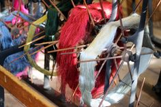 Swifts full of silk yarn on the winding frame. #whitchurchsilkmill