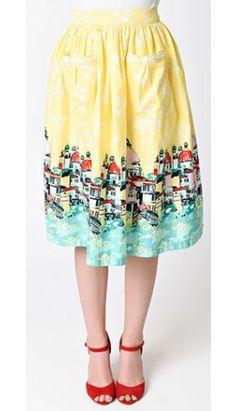 Lindy Bop Yellow Contessa Venice Swing Skirt