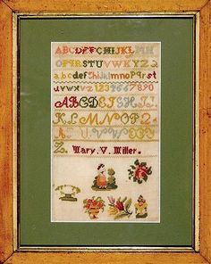 A Pretty Little 19th Century English Sampler Stitched By Mary V Miller