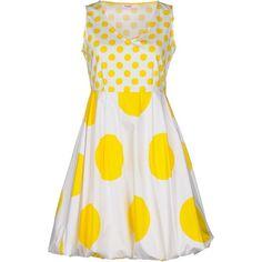 Blugirl Folies Short Dress (5 570 UAH) ❤ liked on Polyvore featuring dresses, yellow, yellow mini dress, polka dot dress, cotton dress, v neck dress and short yellow dress