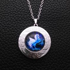 Unicorn Horse Glass Tibetan Silver Chain Photo Locket Pendant Necklace G23