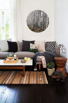 Incorporate your love of the outdoors into your home with unfinished wood side tables + organic patterns.