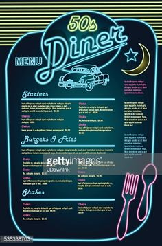 Late night retro Diner neon menu layout with car – gettyimageskorea Late night retro Diner neon menu layout with car – gettyimageskorea More from my sitePhoto 1 of Sock Hop Theme diner / Birthday Sock Hop Diner Diner Menu, Diner Party, Diner Restaurant, Diner Logo, Retro Party, Restaurant Design, 1950 Diner, Vintage Diner, Retro Diner