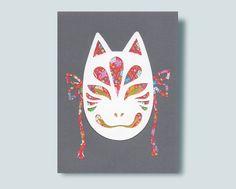 Kitsune Mask Paper Collage Metallic Paper, Gold Paper, Kitsune Mask, Origami Paper, Lapel Pins, Collage, Handmade Gifts, Vintage, Etsy