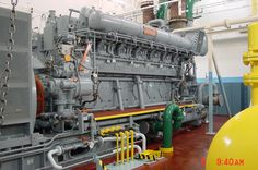 A Fairbanks-Morse OP diesel engine with a Woodward governor control. Boat Engine, Engine Block, Steam Engine, Woodward Governor, Marine Diesel Engine, Fairbanks Morse, Tugboats, Big Huge, Combustion Engine