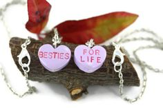 Besties For Life Friendship Necklaces, Best Friend BFF Sweet Hearts Love Valentines Nostalgic Conversation Candy Sweetheart Quirky Jewelry by rubipotamus on Etsy https://www.etsy.com/listing/122957947/besties-for-life-friendship-necklaces