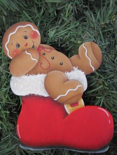 Gingerbread Painting Patterns | Santa Boot Gingerbread EPattern by GingerbreadCuties on Etsy