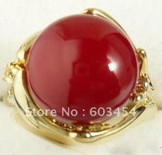 DOPRAVA ZDARMA >>> @@ Red Coral korálek 18KGP Gold Hand Ring Velikost: 7.8.9.10/ Volný Shiping 1ks (Čína (pevninská část))