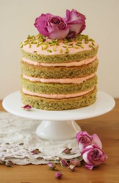 Beela Bakes: Pistachio Layer Cake with Rose Mascarpone Frosting