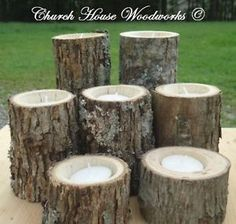 7 Rustic Wedding Candle Holders Wood Candle Holders Tree Branch Candle Holders | eBay