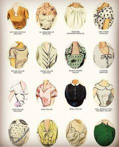 แบบคอเสื้อ Fashion Terms, Fashion 101, Fashion History, Fashion Sketch Template, Fashion Design Sketches, Vintage Outfits, Vintage Fashion, Fashion Dictionary, Fashion Vocabulary