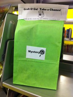 Take a chance reading bags - how much fun for getting them to try different reading genres! Could I make this work somehow with varying reading levels? Middle School Libraries, Elementary School Library, Elementary Schools, Library Book Displays, Library Books, Reading Library, Seattle Library, Library Inspiration, Library Ideas