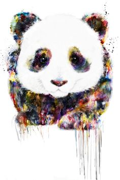 I like this panda art because of the way it was painted with a variety of colors and not just only black and white. This panda reminds me of one of my best friends named Logan, and the reason is that he loves pandas. Panda Love, Cute Panda, Cute Drawings, Animal Drawings, Panda Art, Panda Panda, Red Panda, Oeuvre D'art, Amazing Art