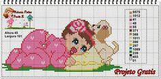 Bebê - menina - infantil - criança Cross Stitch Charts, Cross Stitch Patterns, Cross Stitching, Baby Items, Diy And Crafts, Embroidery, Knitting, Fictional Characters, Vintage