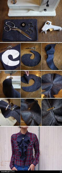 DIY Fashion sewing pattern and tutorial design about how to make an easy steampunk , victorian , gothic fancy dress vintage style ruffle cravat to clip to any existing blouse or jacket grimm and fairy make Steam Punk Diy, Sewing Hacks, Sewing Tutorials, Sewing Projects, Sewing Patterns, Sewing Tips, Diy Projects, Afghan Patterns, Sewing Ideas