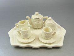Miniature Bisque 10 Piece Tea Set Vintage by WhatnotsAndFancifuls