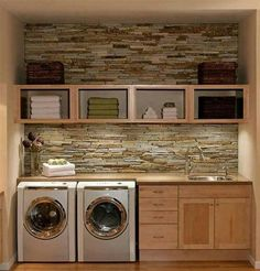 Organized laundry with brick backsplash.love the brick backsplash. It would make doing laundry a lot more enjoyable! Plus who doesn't love a sink in your laundry room? House Design, Laundry Mud Room, Home, Brick Backsplash, Home Remodeling, New Homes, House Interior, Laundry, Laundry Room