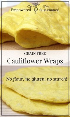 "Low carb bread substitute   Cauliflower Wraps (SCD, GAPS, Paleo)  ""... also can be used as pizza base (topped with tomato paste, cheese, bacon, avo... YUM)""  Curry Wraps: 1/2 head cauliflower, cut into florets 2 eggs 1/2 tsp. curry powder 1/4 tsp. salt Garlic Herb Wraps: Substitute 1 minced garlic clove and 3/4 tsp. dried herbs (basil, oregano, thyme or a combo) for the curry powder"