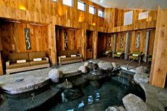 The Cove Spa at the Shore Lodge in McCall, Idaho.  Saline hot tub -- no chlorine!  Just divine...