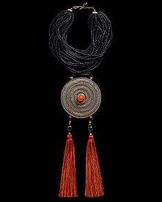 Tibetan Gao Necklace CoutureLab Jewelry Handcrafted necklace with black wooden beads and large Tibetan amulet pendant