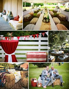 Hay bale seating would be perfect for an outdoor Thanksgiving dinner in FL! Rustic Wedding Alter, Rustic Wedding Gowns, Outdoor Wedding Reception, Rustic Wedding Centerpieces, Wedding Decorations, Wedding Ideas, Wedding Stuff, Hay Bale Seating, Hay Bales