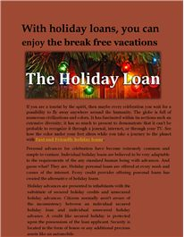 with holiday loan, you can enjoy the break free vacation