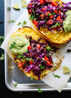 This spaghetti squash burrito bowl recipe is easy to make and so good for you, too! cookieandkate.com