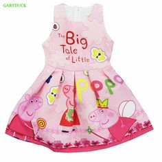 1abcefae7a 2017 New arrival Summer Baby Girl Dress Cartoon Pig Print Vestidos Birthday  Party Clothing Toddler Dresses for years Old