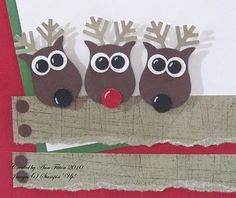 Adoralbe reindeer made using stamping up owl punch by josie. Love the torn paper rails. Excellent focal point for a Christmas card.
