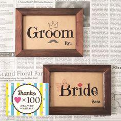 お洒落なデザインのブライダル用受付サイン♡新郎側(Groom)・新婦側(Bride) 2枚で1セットです人気を頂いている受付サインをクラフト紙でアレンジしてみました(^ ^)★お好みに合わせて3タイプのデザイン・10種類の書体よりお選び頂けます(写真2....