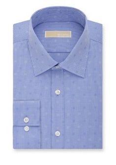 MICHAEL Michael Kors Blue Frost Non Iron  ular-Fit Dress Shirt