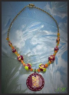 One of a kind necklace, polymer clay necklace in bright garden colors, with unique sized beads and shapes, called the garden collection. by Valleycrafttreasures on Etsy