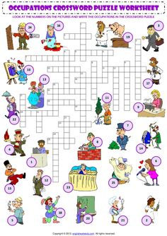 occupations CROSSWORD PUZZLE worksheet LOOK AT THE NUMBERS ON THE PICTURES AND WRITE THE OCCUPATIONS IN THE CROSSWORD PUZZ...