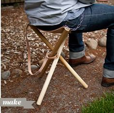 Folding tripod stool. Would also be excellent for a Boy Scout to create for a Merit Badge req.