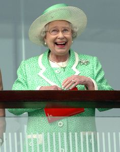 """The Sun:  Arthur Edward's Top 50 Royal photos-The Queen has a winner at Epsom  Arthur explains: """"Her Majesty loves racing and I just love the look of delight on her face in this picture, taken on Derby Day in June 2005."""""""