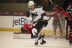 Worcester Sharks forward Brodie Reid reacts after scoring a goal (March 8, 2014).