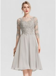 21e7cdbc6a3 ... Scoop Neck Knee-Length Beading Appliques Lace Zipper Up Sleeves Sleeves  No Other Colors Winter Spring Fall General Plus Chiffon Cocktail Dress