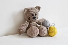 Amigurumi cat for nursery decor. Stuffed animal for boys and girls. Brown crochet cat for cuddly toy. by orshie on Etsy