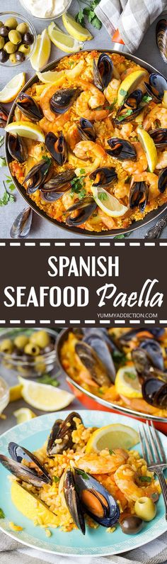 This Spanish Seafood Paella features a crusty saffron and veggie infused layer of rice topped with squid, mussels, and shrimp. The best seafood dish ever! | yummyaddiction.com