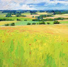 Halima Washington-Dixon: 'Summer Grass Fields', oil on board, 16 x 16 inches