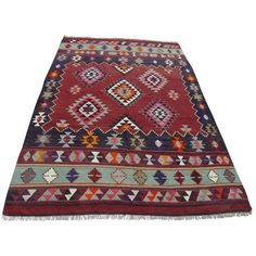 """Red Vintage Turkish Kilim Rug - 5'5"""" x 8'10"""" ($995) ❤ liked on Polyvore featuring home, rugs, bright red area rug, red kilim rug, bright red rug, kilim rugs and red area rugs"""