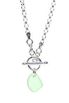 Toggle Sea Glass Necklace-Seafoam, Women's, Cornflower
