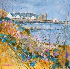 Deborah Phillips_Wheeling Gulls over Sandend_Hand Embellished Signed Limited Edition_15x15 l Scottish Contemporary Art