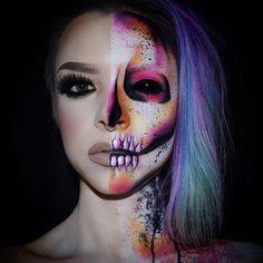 """""""October 4th: Half Skull Half Glam ✖️ #Mehron cream paint & Paradise paint. #Sugarpill & #NYX Shadows. #Velourliquidlipstick in Posh Spice, lashes are…"""""""