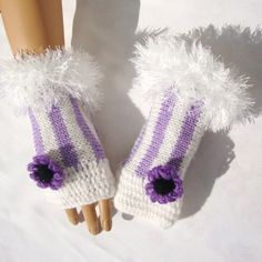 Hand Knit Sprite Lavender White Gloves, Half Finger, Mitten, Gift For Women And Girl, Winter Fashion Knit Mittens, Knitted Hats, Buy Clothes Online, Unique Gifts For Women, Floral Kimono, Pretty And Cute, Hand Warmers, Hand Knitting, White Gloves