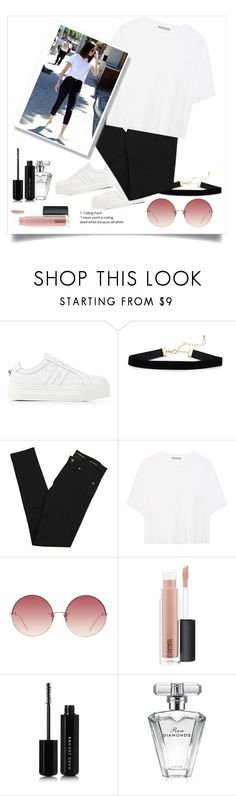 """Selena Gomez's Street Style..!"" by shahystyle ❤ liked on Polyvore featuring Kurt Geiger, Yves Saint Laurent, Vince, Linda Farrow, MAC Cosmetics, Marc Jacobs and Avon"