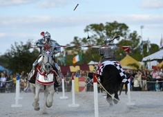 Sarasota Medieval Fair -- knights joust at Sarasota Fairgrounds annual festival.