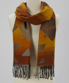 Take a look at this Orange Triangle Fringe Scarf by Reborn Collection on #zulily today!
